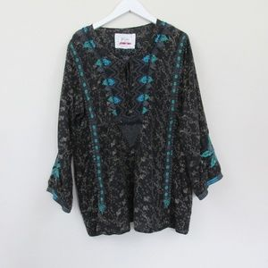 Biya Johnny Was | Silk Floral Embroidered Blouse